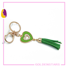 Metal Gold jdm keychain with Heart Shape and Green PU Tassels
