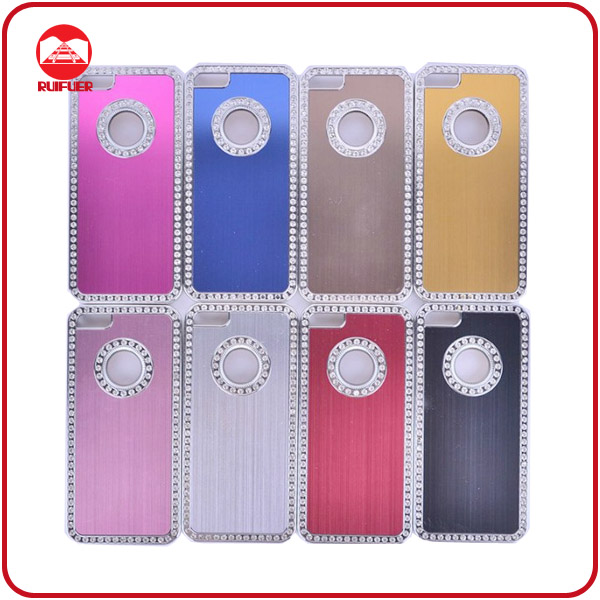 Hot Selling Bling Crystal Rhinestone Brushed Mobile Phone Aluminium Case for Iphone5