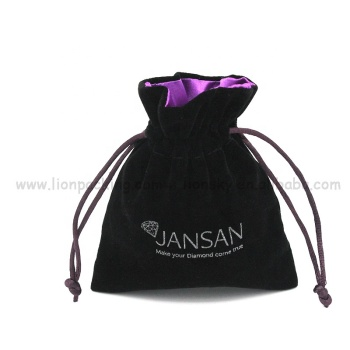 Fashion design gift packing bags custom logo printed drawstring satin lined jewelry velvet pouch