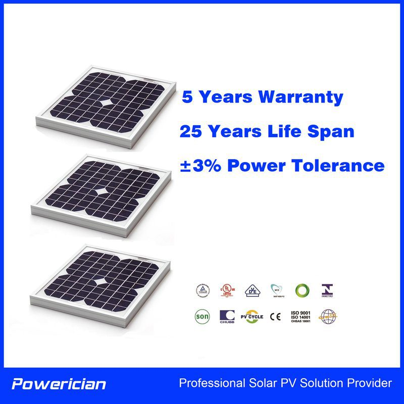 15W Solar Panel for Home Power Solar Street Lamp and Battery Charger