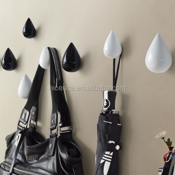 Creative Water drop style decoretive black polyresin hook