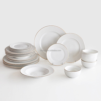Promotional 2017 wholesale porcelain embossed dinner set with gold rim