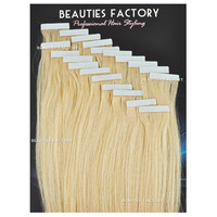 "Beauties Factory 20"" Tape in Skin Weft 100% Remy Human Hair Extensions #60 Platinum Blonde"