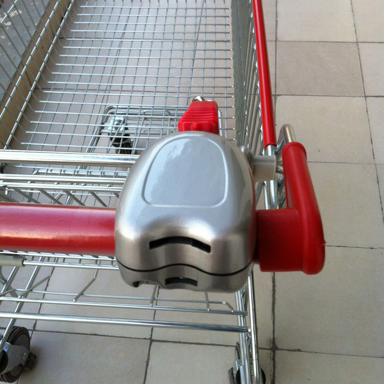 Supermarket shopping trolley coin lock