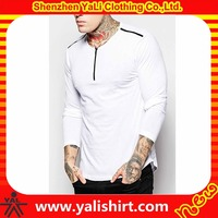 New arrival soft thin dry fit long sleeve cotton/spandex curved hem zip neck white tight fit oem tshirts for men