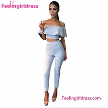Two Pieces Light Blue Off Shoulder Sexy Woman Bodycon Jumpsuits