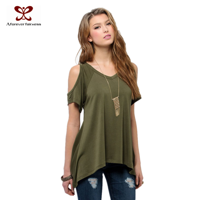 A Forever Fairness Causal Off Shoulder Loose Softextile T Shirt For Women Fancy Design T-Shirt