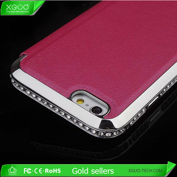 luxury bumper diamond leather case for iphone 6