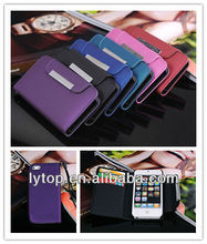 For iphone case 5/ Smooth Leather Wallet Case with Hand Grip & Metal Clip for iPhone 5 5s 5g