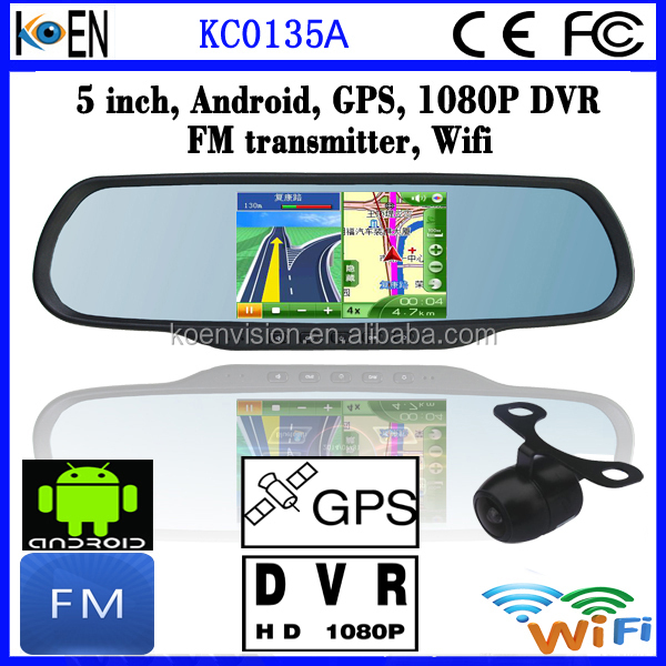 "2015 Hot Selling 1080P+720P DVR 5.0"" Touch Screen Rearview Mirror Android Car Radio With GPS For Skoda Octavia"