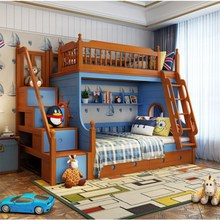 Mediterranean Style Solid Wood Bunk Beds for Kids High Quality Children Bedroom Furniture Set