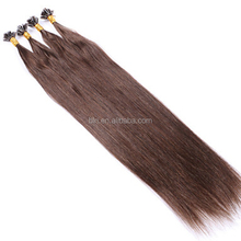 Human Hair Virgin Brazilian Hair Nail U Tip Keratin Fusion Hair Extensions Straight Pre Bonded Color #4 1g/Strand