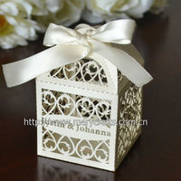 "World Cup 2014 Personalized 300 pieces/lot 250g Pearl Paper ""Filigree"" Favor Box With Free Organza Ribbon"