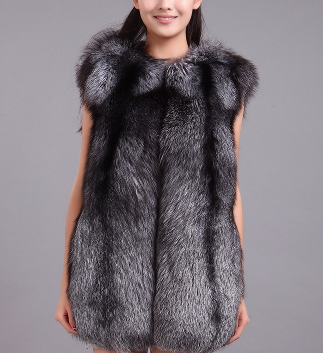 2016 fashion women real silver fox fur vest
