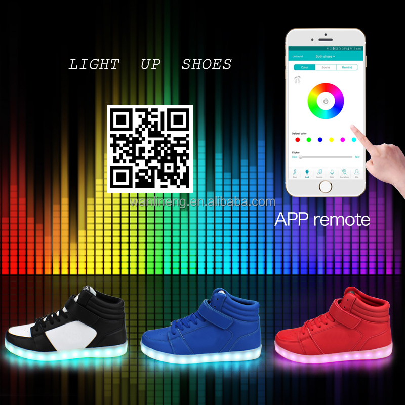 2016 Fashion upper men bluetooth sport led shoes with app controlled,remote led shoes, light up shoes