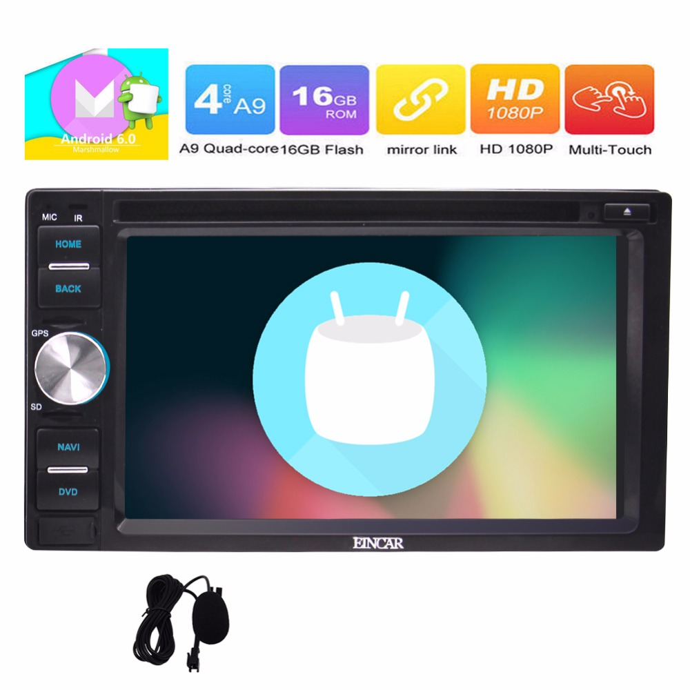 Android 6.0 Car Stereo Marshmallow 6.2'' Double Din DVD <strong>Player</strong> HD Touch screen GPS Navigation Radio Audio <strong>Player</strong> 1080P