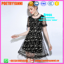 Fashion Brand Floral Embroidered Dress Women Round Neck Short Sleeve Vintage Black Dress 2017