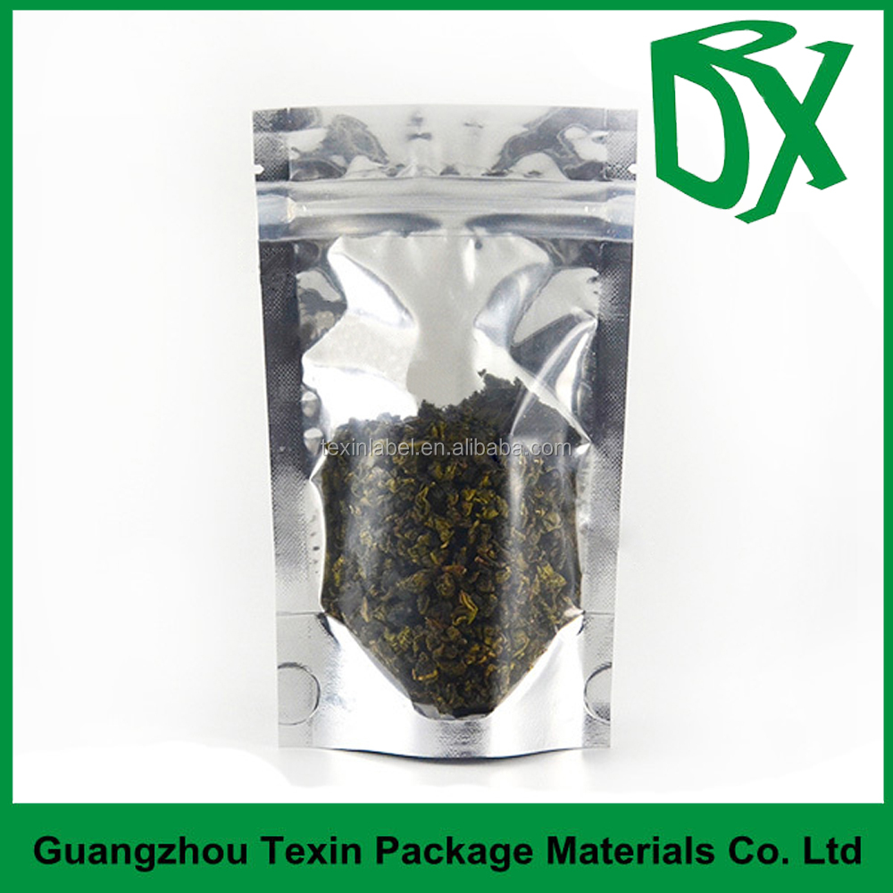 china factory wholesale price stand up aluminium foil lined tea /snack packaging custom ziplock bag