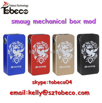 Tobeco unique design box mod best selling smaug mod mechanical smaug box mod with 4 colors available