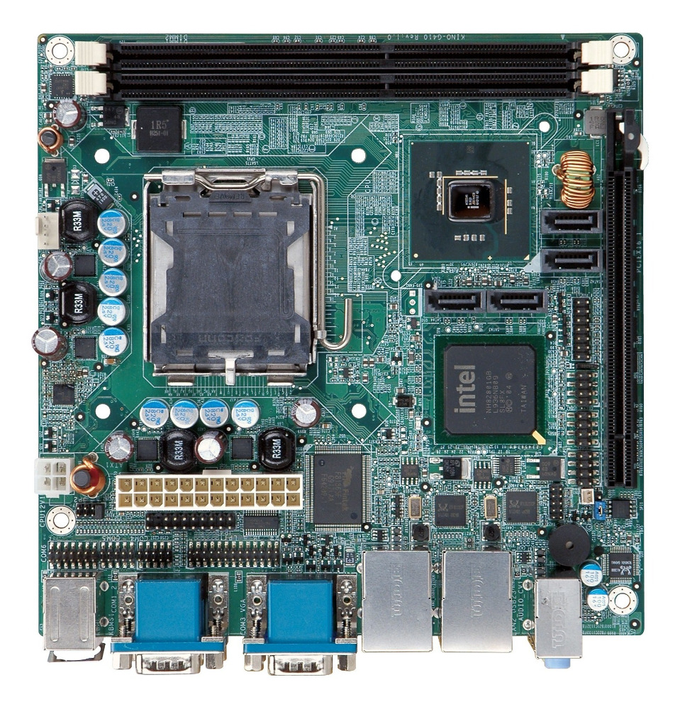 Mini-ITX SBC motherboard supports LGA775 Intel Core2 Quad CPU DDR3, VGA, dual PCIe GbE, six COM, four SATA 3Gb/s