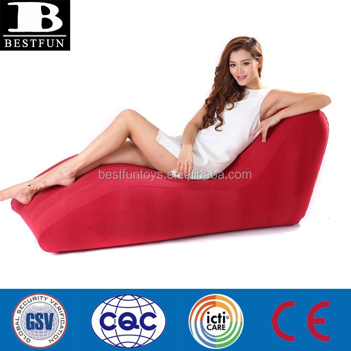 Modern Red Inflatable Flocked S Shape Lounge Chair
