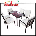 Patio Outdoor Steel 7-Piece Glass Top Dining Table Set 6 chairs Furniture