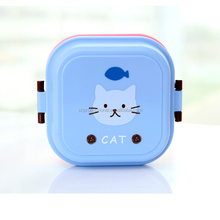 cartoon two layer square bento lunch box for kids with lock