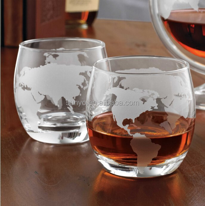 China factory frosted Map decal egg shaped hotel meeting stemless shot whisky glass
