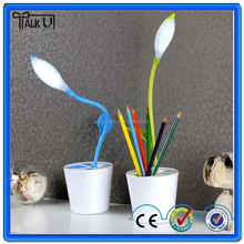 Double use eye protective led pea seedling table lamp with pen holder, student dormitory USB rechargeable table lamp