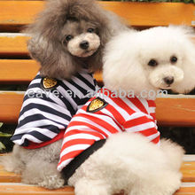 E1010 Navy Striped Shirt Fitted Vest T-shirt Small Dog Lovers Clothes Teddy VIP Pet Clothing Spring Autumn Summer Girl Coat
