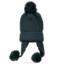 Unisex Knitted Ski Cap Winter Hat Crochet Ear Flap Beanie Hat with Pom
