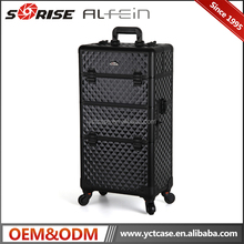 High Quality Professional Artist Rolling Wheel Trolley Makeup Case Cosmetic Organizer / Beauty Cases On Wheels