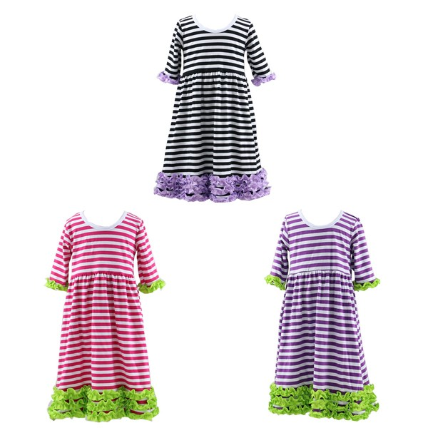 New colors styles three ruffles valentine's baby dress striped frock dress cotton patiyala girls dress boutique fairy princess