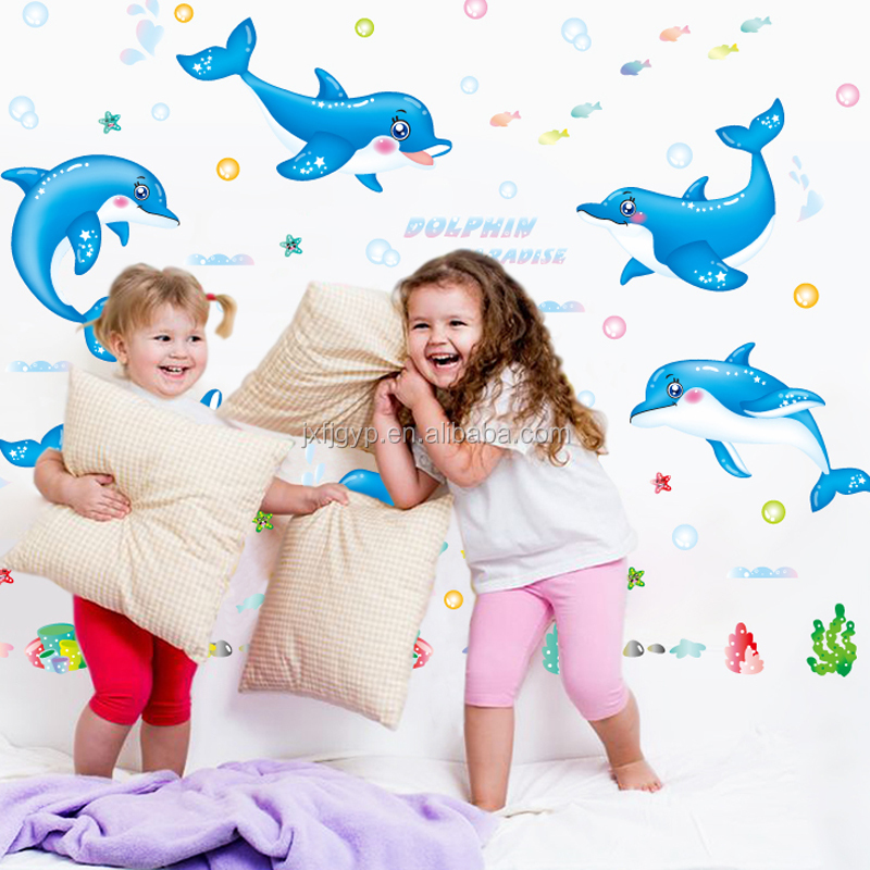 Hot sales personalized removable PVC dormitory bedroom baby's room dolphin paradise animal wall stickers for decoration