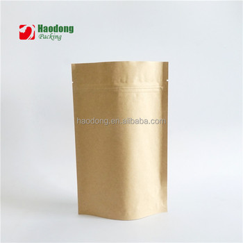 Stand Up Coffee Zipper Aluminum Foil Packaging Ziplock Paper Kraft Bag