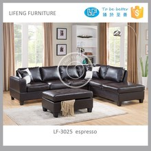 reversible leather corner sofa with storage ottoman, LF-3025 sectional