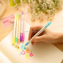 Colorful highlighter pen dot color fluorescent pen easy to write and wipe off color pen
