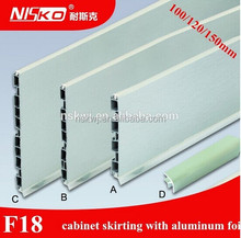 150mm brushed aluminium plastic kitchen plinth baseboard