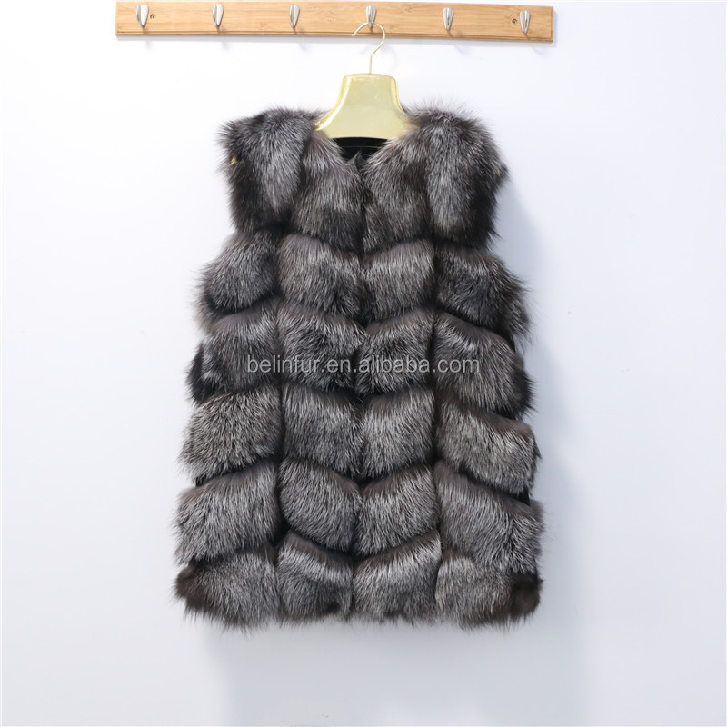 2016 new fashion women europe style silver fox fur hunting vest