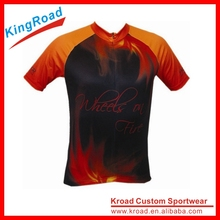 Anti-UV cycling kits for men, custom pro team red fire cycle shirts