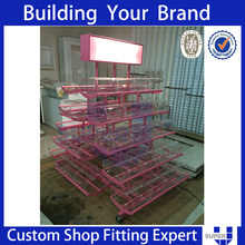 commercial modular metal gondola metal shelving with lightbox