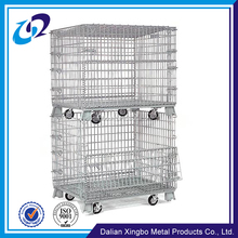 Heavy duty warehouse storage galvanized collapsible steel crate