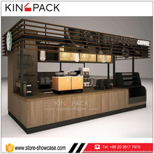 Coffee shop interiors design wood veneer coffee station bar counter for sale