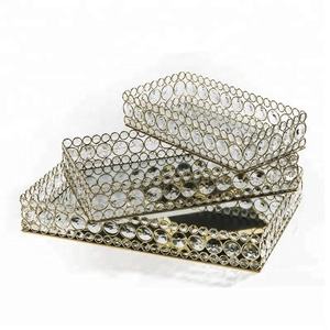 Crystal centerpieces rectangular metal tray for wedding table