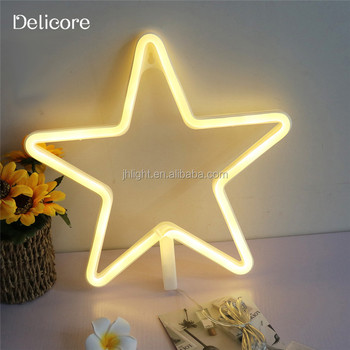 2017 New Design Battery Operated Star Neon Light With USB Powered Best For Christmas Party Hoom Decoration
