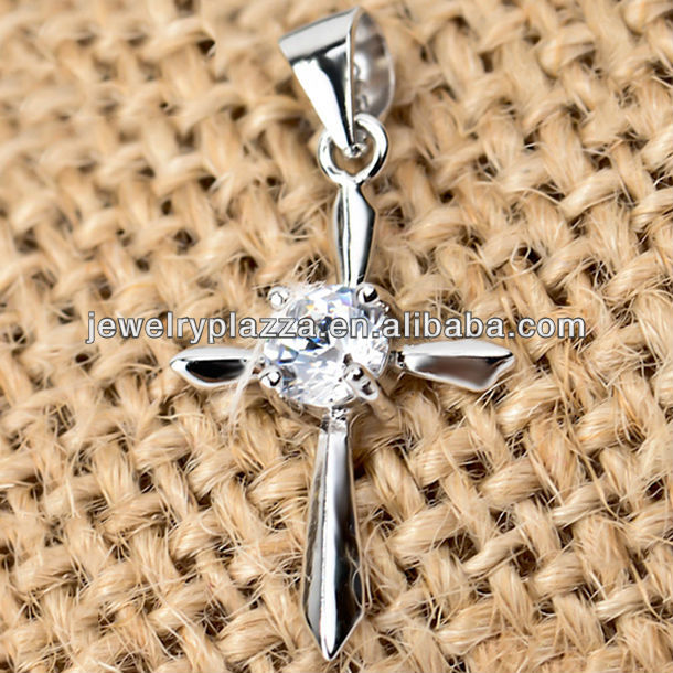 TOP rank wholesale 925 silver cross <strong>charm</strong>, diamond cross jewelry pendant