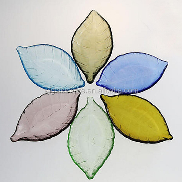 cheap colored leaf shape glass plate