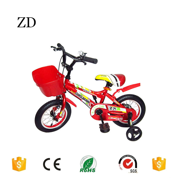 Hebei Zandi factory hot sale children bicycle with training wheels 12 14 15 16 18 20 yellow red blue kids dirt bikes for sale