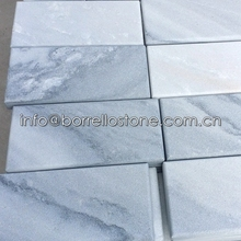 Bush Hammered White Marble With Grey Veins Wall Brick