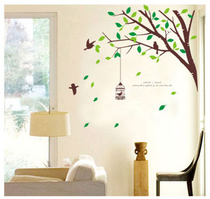 Tree Green Leaves bird wall stickers Vinyl DIY wall decals for Living room Bedroom Kids room Home decor murals